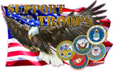 Eagle American Flag Support Our Troops Decal