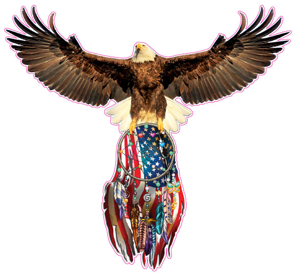 Eagle Dream Catcher American Flag decal