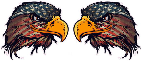 American Flag Eagle Head version 3 Pairs decal