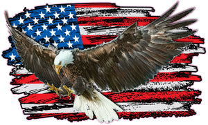 Eagle Worn American Flag Decal