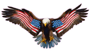 Bald Eagle Warn American Flag Decal