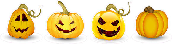 Halloween Pumpkins Version 2 Wall or Window Decor Decal - 12
