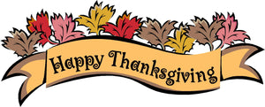 "Happy Thanksgiving Sign Version 2 Wall or Window Decor Decal - 12""x6"" 