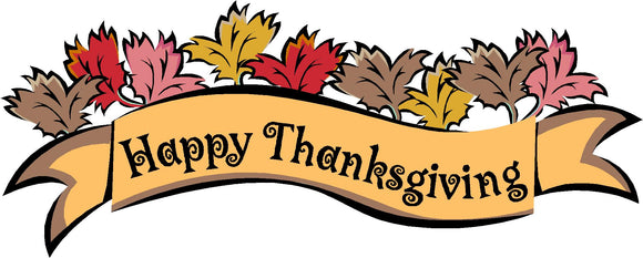 Happy Thanksgiving Sign Version 2 Wall or Window Decor Decal - 12