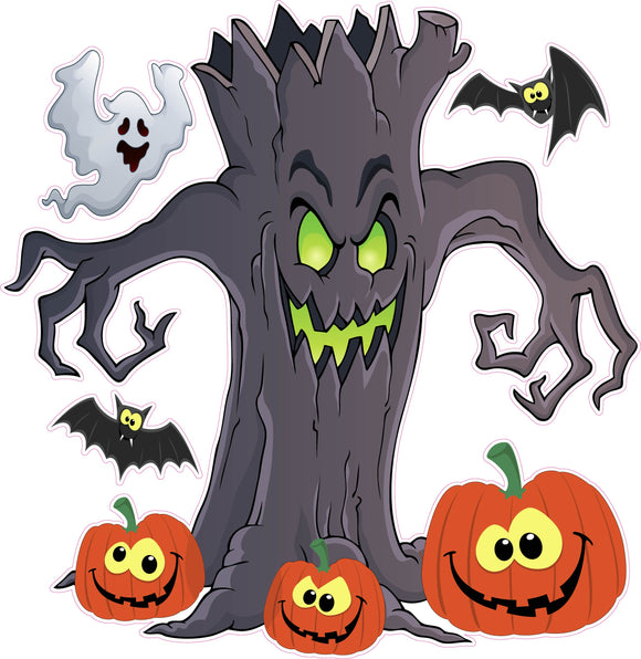 Halloween Haunted Tree with Ghost and Bats Pumpkins
