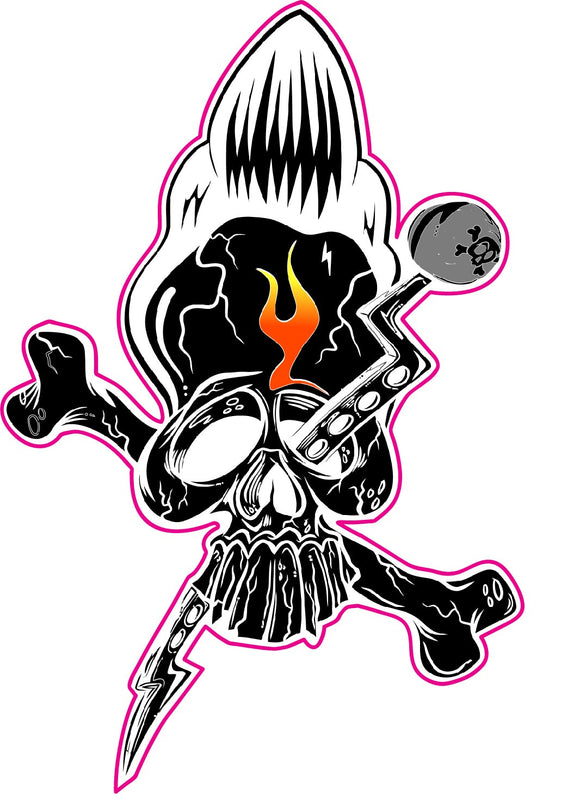Hot Rod Skull Decal - | Nostalgia Decals Online retro car decals, old school vinyl stickers for cars, racing graphics for cars, car decals for girls