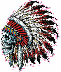 Indian Skull Version 2 LEFT Facing Decal