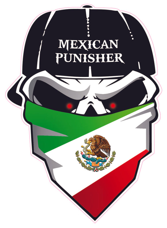 Mexican Punisher Decal- | Nostalgia Decals Online window stickers for cars and trucks, die cut vinyl decals, vinyl graphics for car windows, vinyl wall decor stickers
