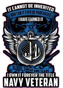 "United States Navy I Have Earn it Decal - 4"" x 4"" 
