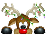 "Rudolph Peeking Through the Window Wall and Window Decor Decal - 10""x13"" 