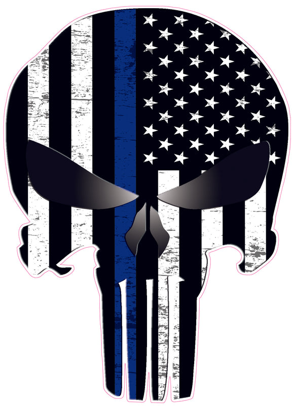 Punisher Subdued American Flag Thin Blue Line Decal