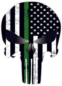Punisher Skull Thin Military Line Subdued Decal