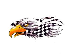 Eagle with Checkered Flag Decal - | Nostalgia Decals Online retro car decals, old school vinyl stickers for cars, racing graphics for cars, car decals for girls
