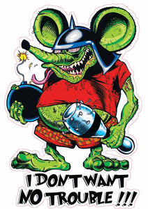 Rat Fink I Don't want no Trouble Decal - | Nostalgia Decals Online Ed Roth rat fink vinyl decals, rat fink stickers for car windows, ed roth truck window decals
