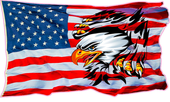 Ripped American Flag Eagle Decal