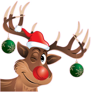 Rudolph The red Nose Reindeer Winking window and wall decor decal- | Nostalgia Decals Online window stickers for cars and trucks, die cut vinyl decals, vinyl graphics for car windows, vinyl wall decor stickers