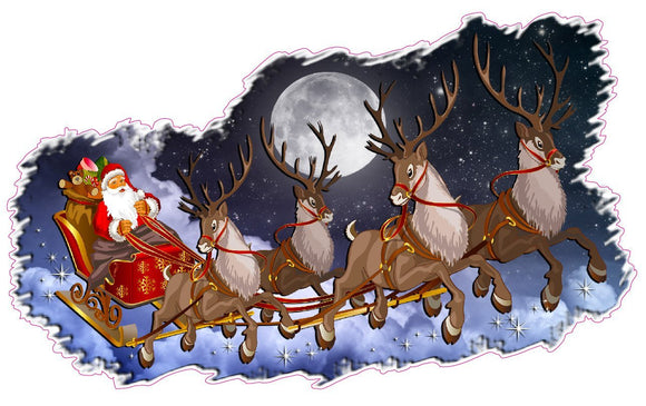 Christmas and Holiday Wall Décor Decal Santa Claus with Sleigh and Reindeer - 48
