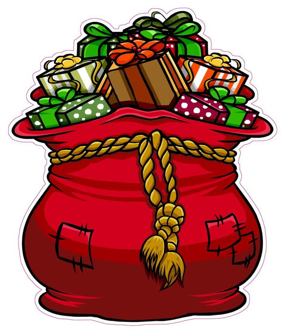 Christmas and Holiday Wall or Window Decor Decal Santa Bag of Presents - 24