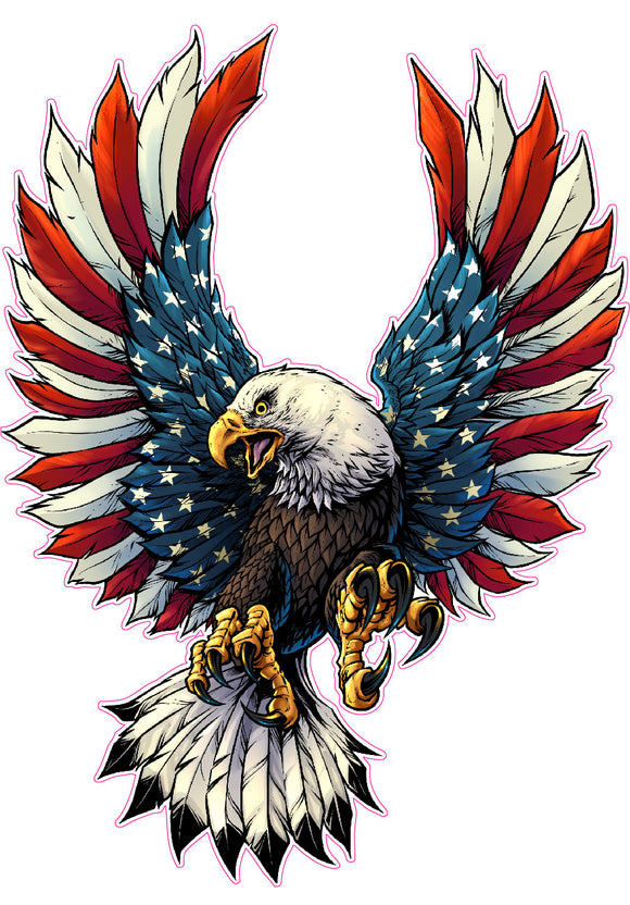 Screaming American Flag Bald Eagle with Black Tips Decal