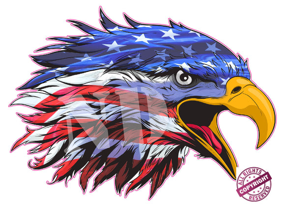 Screaming American Flag Eagle Head Decal