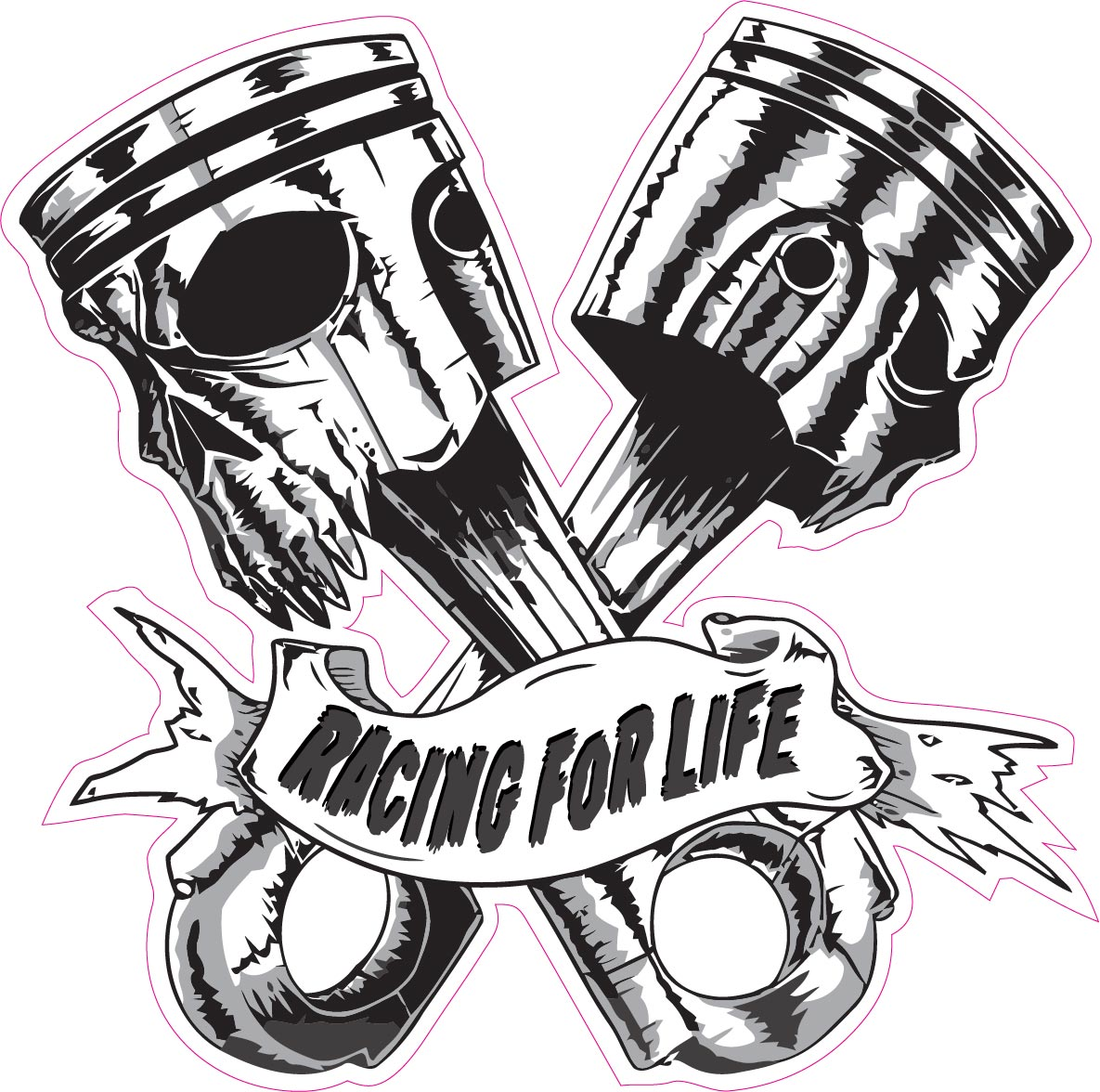 Skulls Pistons Racing For Life Decal Nostalgia Decals