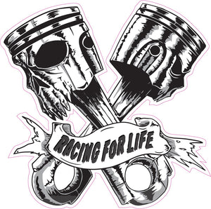 Skulls Pistons Racing for Life Decal- | Nostalgia Decals Online truck decal stickers for windows, car window decals and stickers, auto brand stickers, logo decals for cars