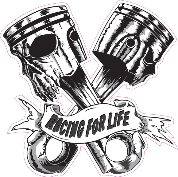 Skulls Pistons Racing for Life Large Decal- | Nostalgia Decals Online truck decal stickers for windows, car window decals and stickers, auto brand stickers, logo decals for cars