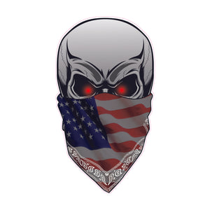 Skull with American Flag Bandanna Decal