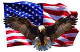 Soaring Bald Eagle American Flag Decal