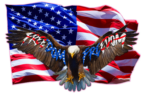 Soaring Bald Eagle American Flag Freedom Decal