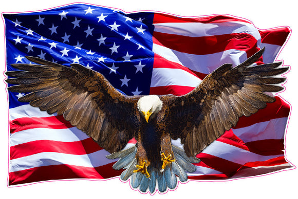 Soaring Bald Eagle American Flag