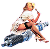 Spark Plug Pin Up Girl Decal