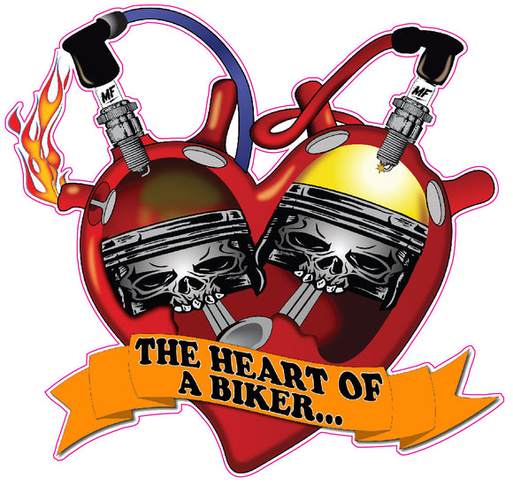 The Heart of a Biker Decal