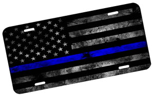 Thin Blue Line Subdued American Flag License Plate