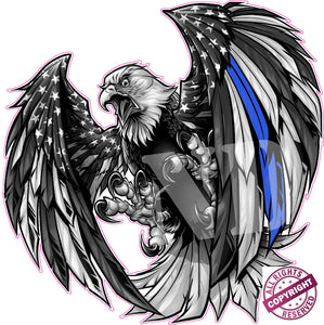 Thin Blue Line American Flag Eagle Decal