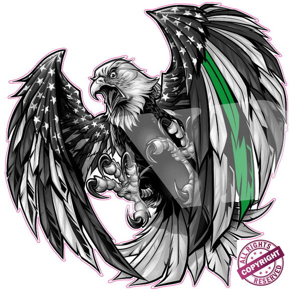 Thin Green Line Military American Flag Eagle Decal