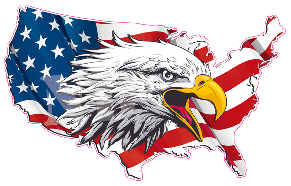 United States American Flag Eagle Head Decal
