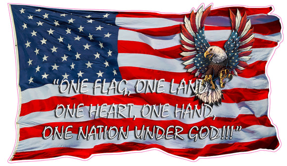 Waving American Flag One Flag, One Land, One Heart, One Hand, One nation under God Decal