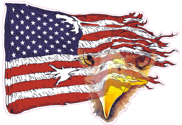 Weathered American Flag Eagle Decal