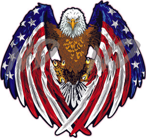 American Flag Bald Eagle Wings Decal