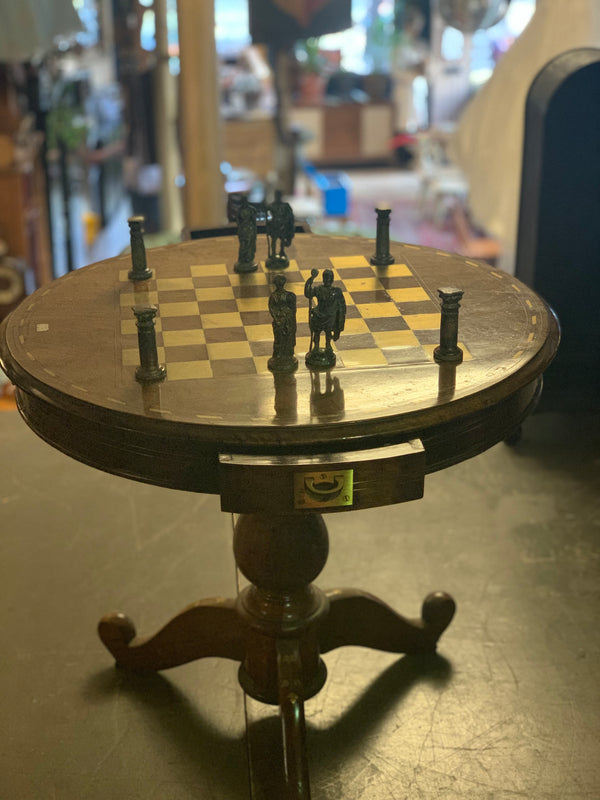 Round Chess Table with Drawers & Brass Chess Pieces