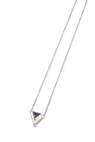 Triangular Iolite and Silver Pendant