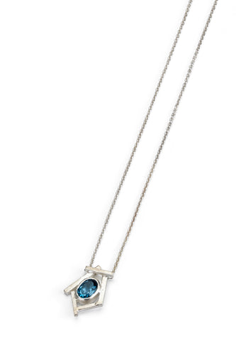 London Blue Topaz and Silver Pendant