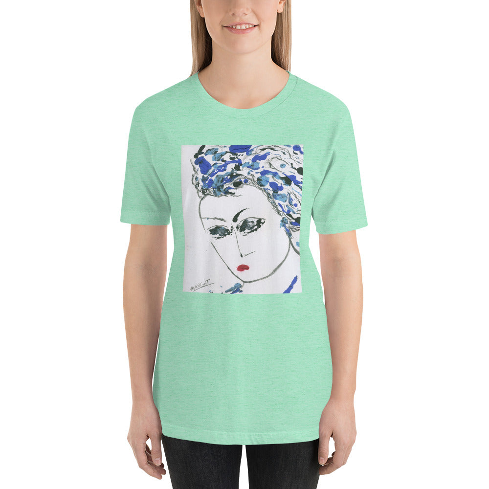 "Short-Sleeve Unisex T-Shirt / ""tiny red lip girl"" / Artist - Margot House"