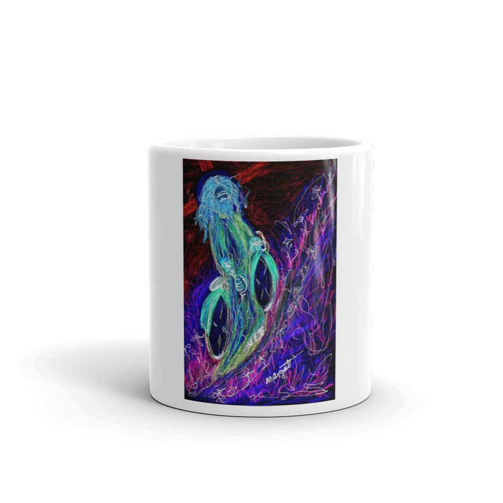 "neon ""Jesus Christ on a Bicycle"" Mug / Artist - Margot House & Bryan Ameigh"