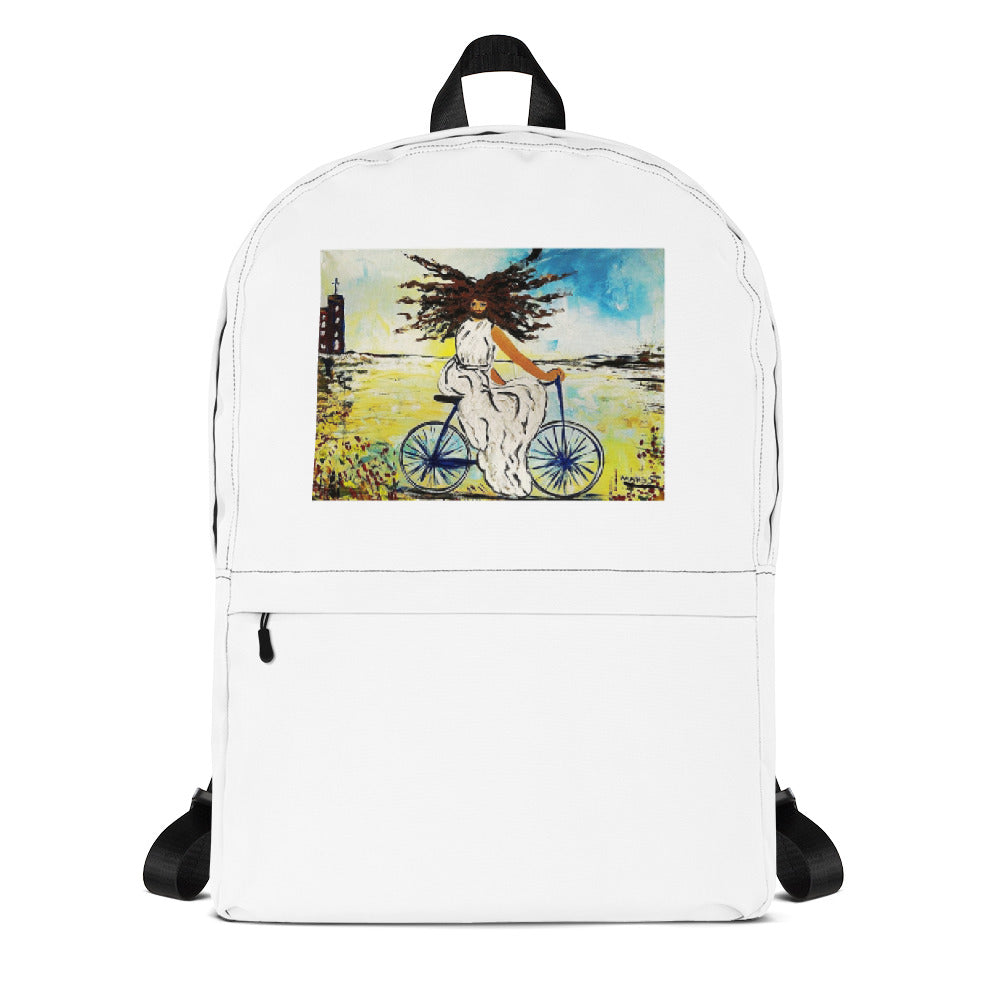 """Jesus Christ on a Bicycle""  Backpack / Artist - Margot House"