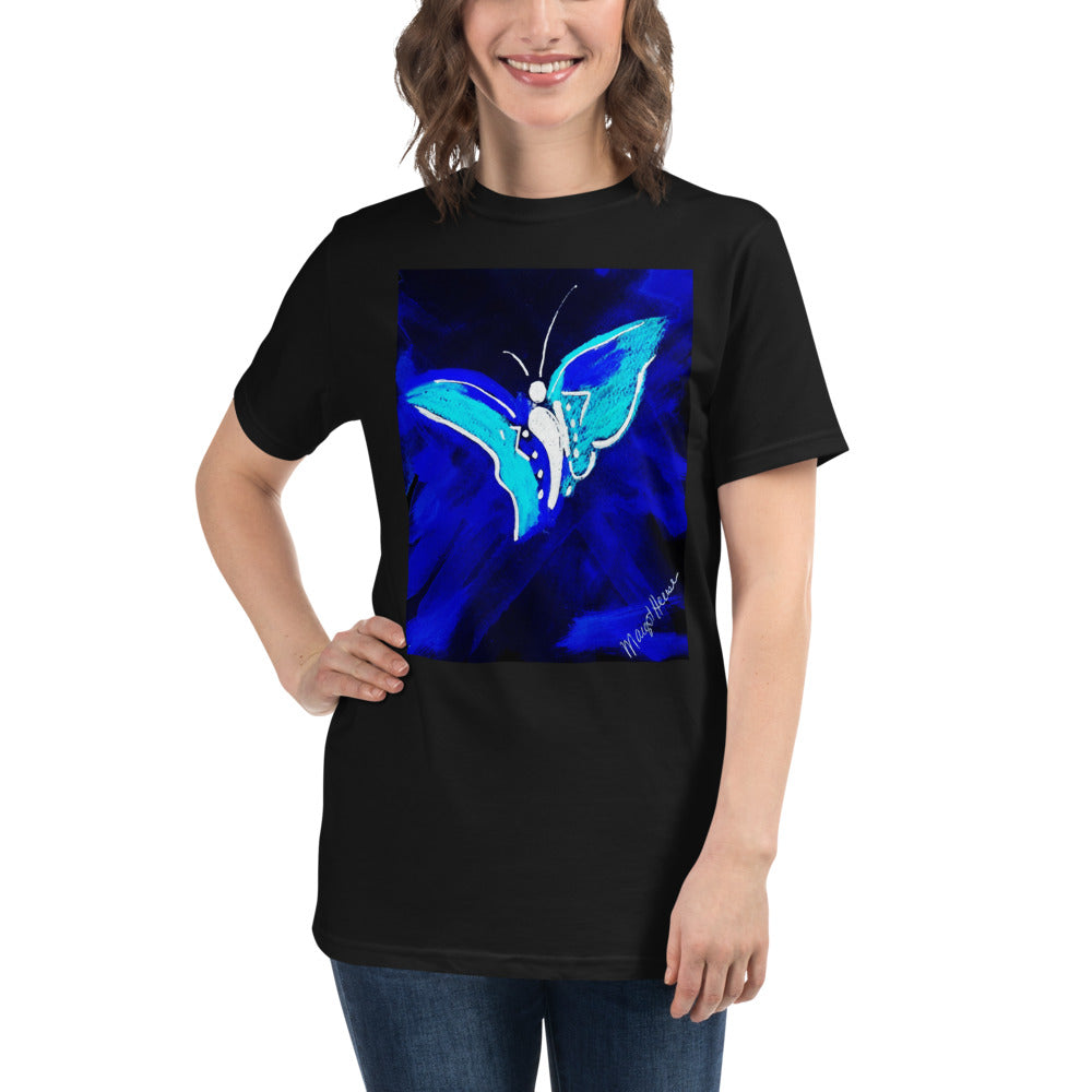 Organic Blue Butterfly T-Shirt / Artist- Margot House