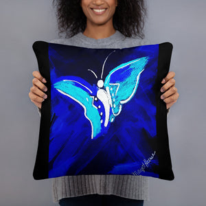 Electric Blue Butterfly Pillow / Artist - Margot House