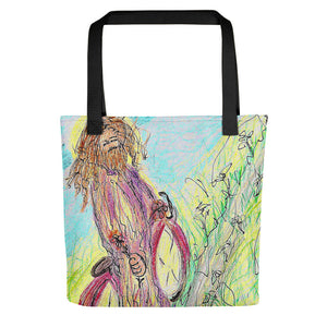 "Artsit Edition ""Jesus on a Bicycle"" Tote bag / Artist - Margot House"