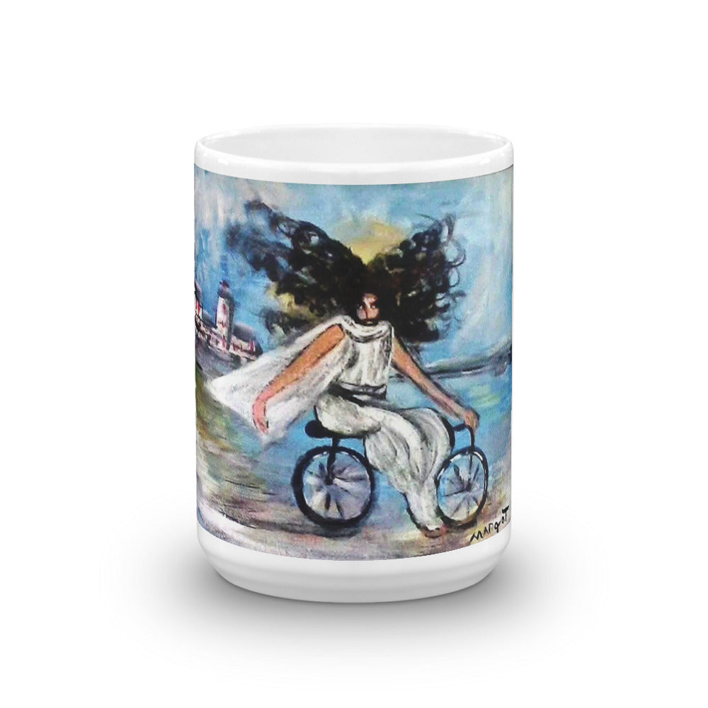 Jesus on Bicycle Mug / Artist - Margot House